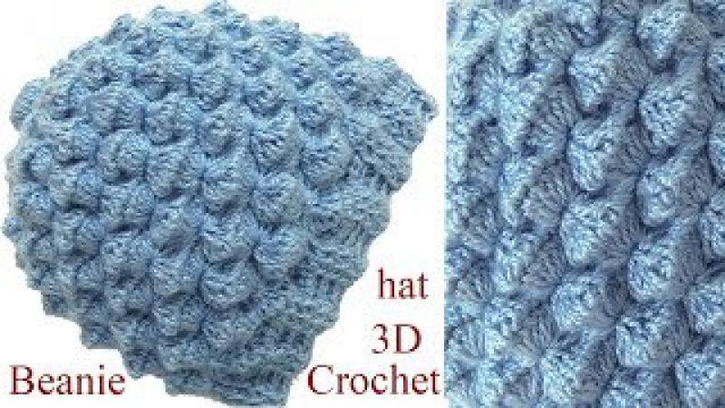 Gorro a Crochet en punto conchitas 3D tejido tallermanualperu