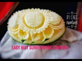 Easy way sunflowers carving for beginner  (