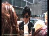 Adam Lambert meeting fans in front of the Mirror offices in London