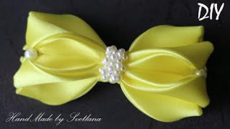 Простой бантик из ленты Канзаши Laço de Cetim DIY Simple ribbon bow Kanzashi
