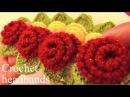 Aprende a tejer a Crochet diademas con rosas de una sola tira con hojas - Learn Crochet