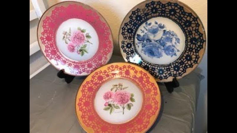 Prato decorado com tinta spray e decoupage - Decorated plate with spray paint and decoupage