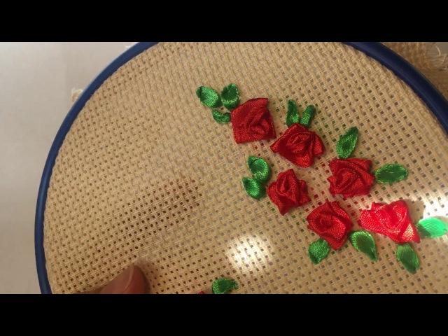 Роза вышитая лентами (мини) / Rose embroidered ribbons (mini)