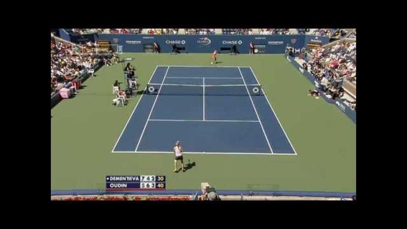 WTA 2009 US OPEN 2R Elena Dementieva vs Melanie Oudin Highlights【3】