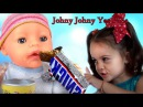 BAD BABY Born Doll Steals Chips and Candy! Johny Johny Yes Papa, Nursery Rhymes Songs!