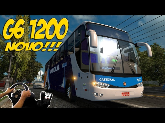 Euro Truck Simulator 2 (Version 1.28; Microsoft Windows, 2012) | Rear-Engine 4WS Mercedes-Benz Marcopolo Paradiso G6 1200 with FWD Config | Brazil Map | Logitech G27)!