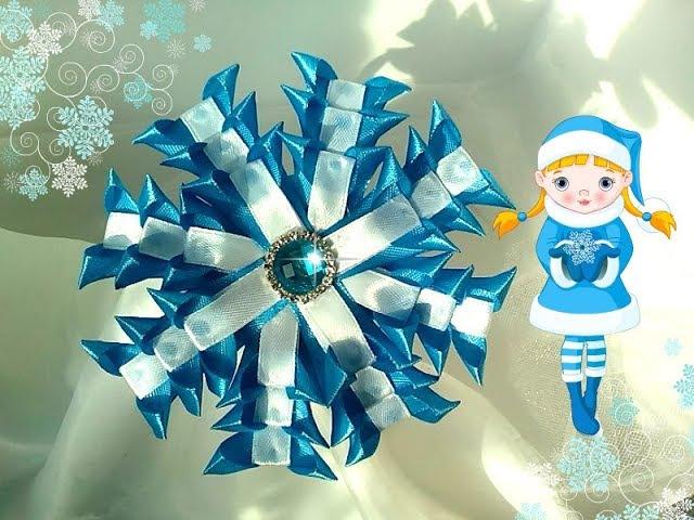 Новогодняя снежинка из узкой ленты Новый лепесток Ободок канзаши на утренник Christmas Snowflake