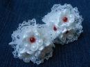 Резинки канзаши, МК / DIY Scrunchy with Kanzashi flower / White Ribbon Flowers