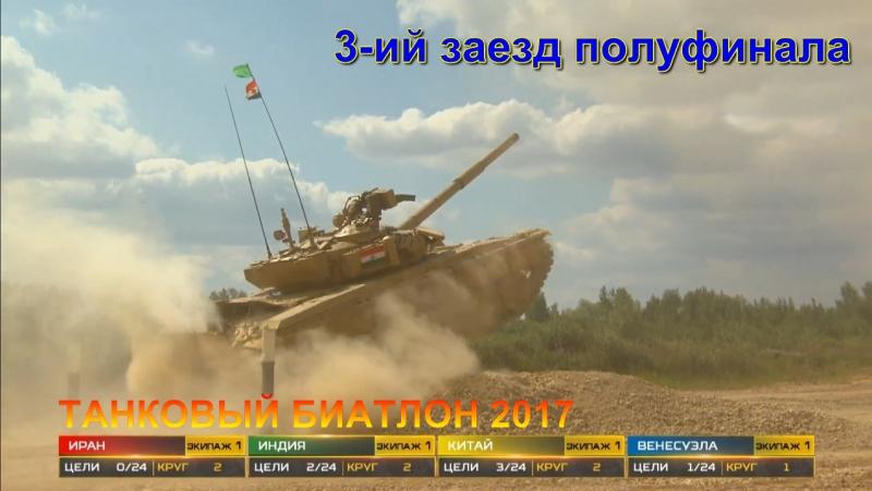 Танковый биатлон 2017 3-ий заезд полуфинала - Китай, Венесуэла, Иран, Индия