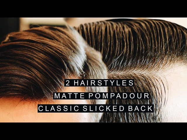 2 Hairstyles   Short Matte Pompadour   Shiny Classic Slicked Back Hairstyle   Side Part