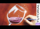 How to paint a GLASS of RED WINE with Water Drops. Painting Tutorial Step by step. SPARKLING