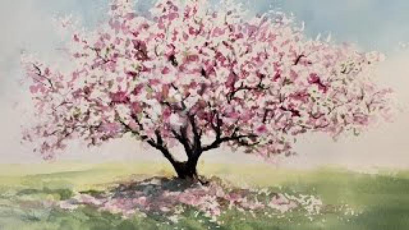 Очень Легко! Магнолия в цвету. Акварель. Very Easy. Magnolia blossom. Watercolour