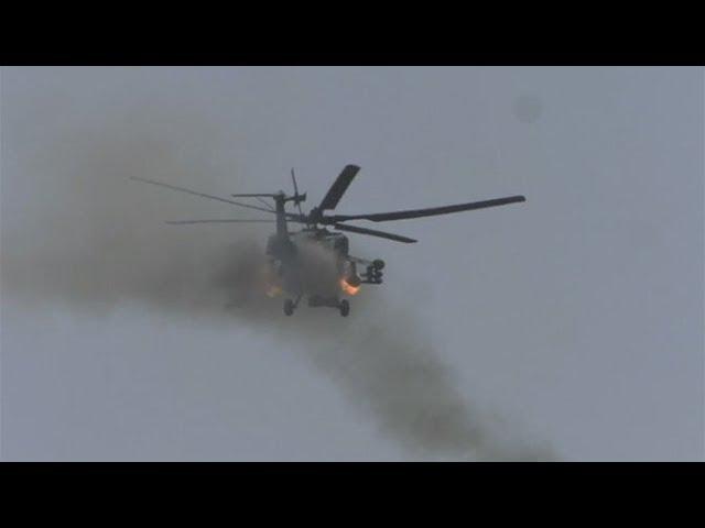Ми-28Н «Ночные охотники» ВКС РФ испепеляют боевиков ИГИЛ в котле