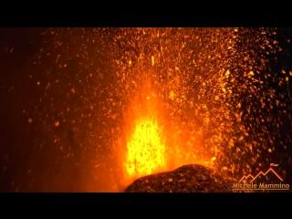 Эффектное ночное извержение вулкана Этна (Сицилия, Италия 27-28.02.2017)