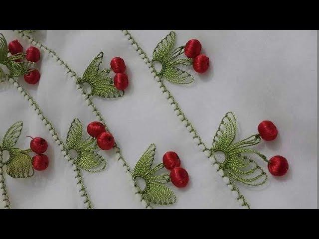 İğne oyası kiraz modelinin anlatımlı yapılışı How to make cherry pattern