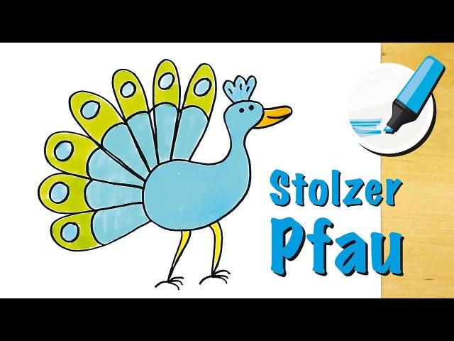 Pfau zeichnen lernen: Der elegante Vogel - How to draw a Peacock (Cartoon)