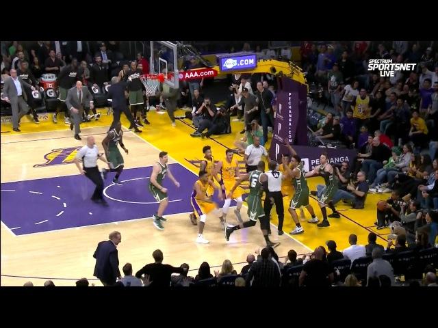 March 17, 2017 - Bucks vs. Lakers - Malcolm Brogdon Fouls Nick Young Hard And Chaos Ensues