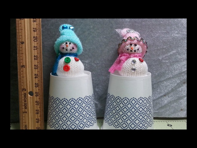 DIY~Tiny Snowman Made From Finger Of Stretchy Dollar Glove! Christmas! EASY NO SEW!