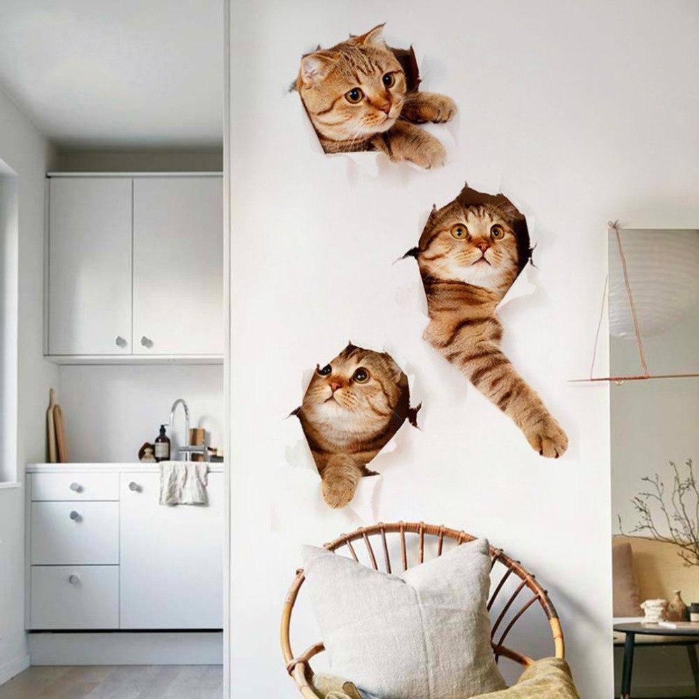 Прикольные 3D НАКЛЕЙКИ с котэ