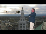 Patrick Hammer is surprised by a spider during weather