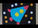 Ракета из кругов. Аппликация из цветной бумаги. Поделки на день космонавтики.