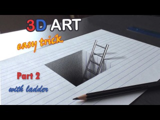 Easy Drawing of a HOLE with ladder/ 3D Trick Art for Kids