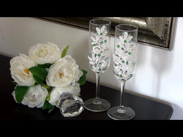 Свадебные бокалы с кружевом Wedding glasses with lace