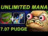 UNLIMITED MANA PUDGE - DOTA 2 PATCH 7.07 NEW META PRO GAMEPLAY