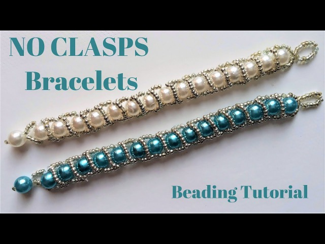 Beading tutorial Beaded bracelet without clasps Very easy pattern Handmade jewelry