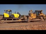 Автомобильные гладиаторы- битва бульдозеров Caterpillar D7R2 vs Б14 ЧТЗ