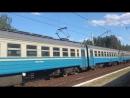 Электропоезд эр2р-7044 сообщением 6446 Красный Лиман-Харьков(Л) отправляется с платформы Подгорки