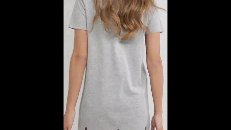 платье-футболка с кружевом