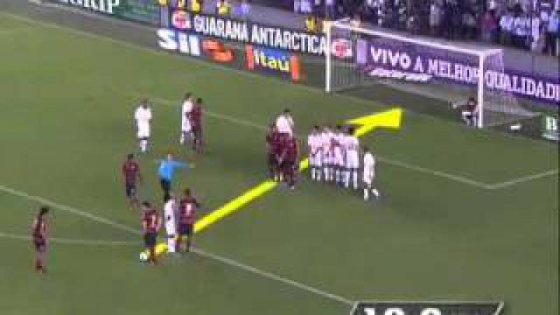 Gol de Falta do Ronaldinho (Por baixo da barreira) contra Santos 4 x Flamengo 5
