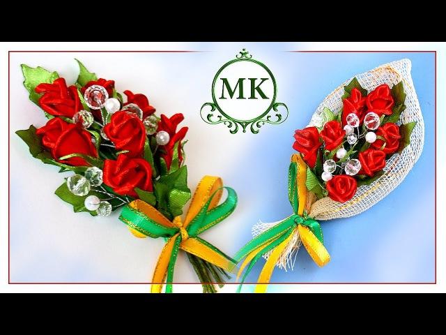 Магнит на холодильник. Розы из лент. Канзаши. МК. / DIY. Kanzashi. Fridge magnet. Roses