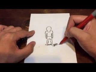 紙に描いた「絵の人」との戦い