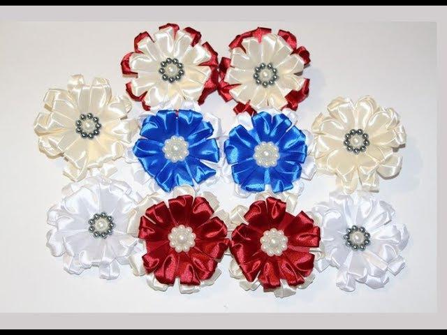 Цветы канзаши из ленты 2,5 см. / DIY