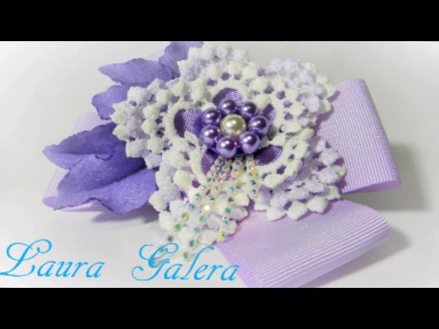 Flor imitacion crochet Imitation crochet flower Flor de crochet de imitação
