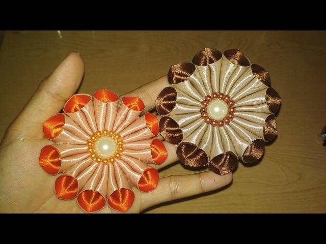 DIY || Cara Membuat Bros Bunga Galau Kanzashi Flower 09 🌸 - Lista Tsurayya Tutorial