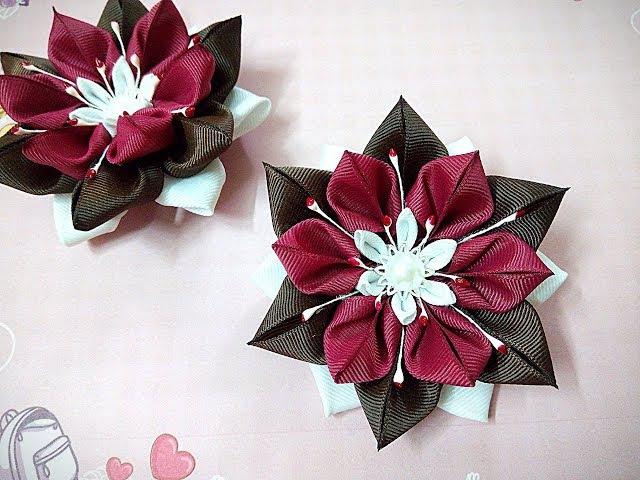 Необычные резинки заколки канзаши из лент/ hair clips ribbon kanzashi DIY