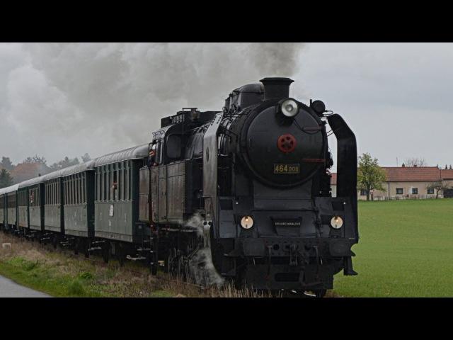 Parní lokomotiva 464 008 a 742 383 Expresem Sv. Jiří na Řípskou pouť 22.4.2017