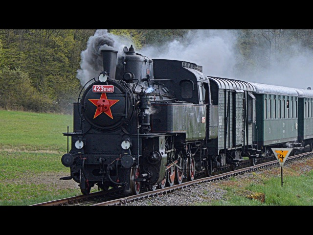 Parní lokomotiva 423 0145 parním vlakem Českým rájem 23.4.2017