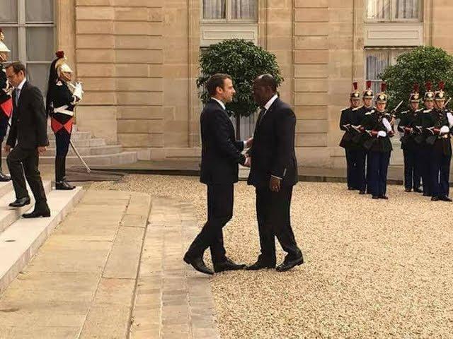 Emmanuel Macron 11.06.2017 FRANCE /COTE D'IVOIRE : RENCONTRE AU SOMMET: PAS DE TAPIS ROUGE POUR OUATTARA A L'ELYSEE