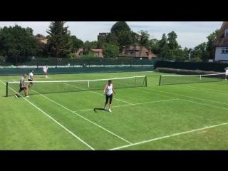 Victoria Azarenka at practice at Wimbledon