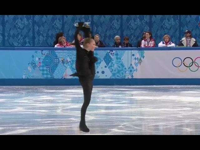 Юлия Липницкая, вращение. Фрагмент тренировки КП личных соревнований. ОИ-2014