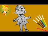 Как нарисовать вампира из мультфильма на хэллоуин для детей