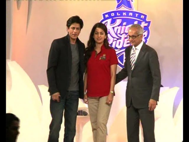 SRK and Juhi Chawla Unveil KKR's New Logo