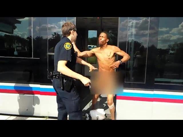 Houston Police Taser Naked Man Who Hits Cop