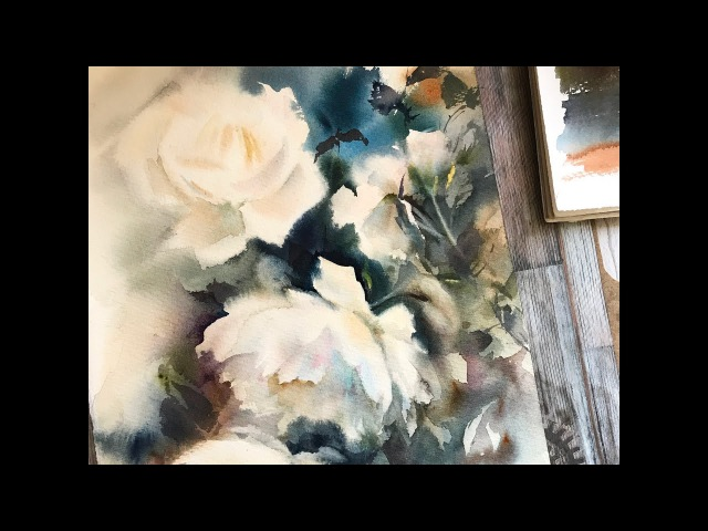 Watercolor painting demo of white roses by CanotStopPainting, time lapse version
