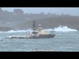 Offshore Tug ANGLIAN PRINCESS inbound La Coruna surfing the waves
