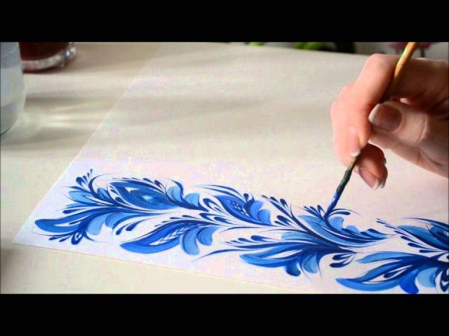 урок Петриковской росписи орнамент кистью и кошачкой Petrikovka Ukraine
